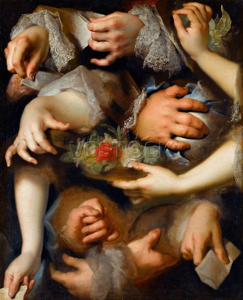 Study of Hands by Largilliere, Nicolas, de (1656-1746) / Louvre, Paris / ca 1715 / France / Oil on canvas / Genre / 65x52 / Rococo