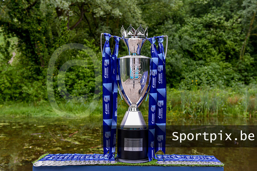 illustration picture showing the SuperLeague Champions Cup during the celebration of their Belgian Scooore Womens Super League 2020 - 2021 title after winning the championship , saturday 5 th of June 2021 in Anderlecht , Belgium . PHOTO SPORTPIX.BE | SPP | STIJN AUDOOREN