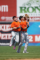 Frederick Keys shortstop Ryan Mountcastle (6) catches a shallow fly ball as center fielder Austin Hays (18) attempt to avoid collision during the first game of a doubleheader against the Wilmington Blue Rocks on May 14, 2017 at Daniel S. Frawley Stadium in Wilmington, Delaware.  Wilmington defeated Frederick 10-2.  (Mike Janes/Four Seam Images)
