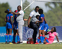 Bradenton, FL - Sunday, June 10, 2018: Dougenie Joseph, Haiti staff during a U-17 Women's Championship match between the United States and Haiti at IMG Academy.  USA defeated Haiti 3-2 to advance to the finals.