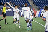Foxborough, Massachusetts - April 24, 2019:   The Montreal Impact (white) beat the New England Revolution (blue) 3-0 in a Major League Soccer (MLS) match at Gillette Stadium.