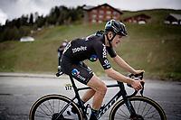 Felix Gall (AUT/DSM) up the climb towards La Plagne (HC/2072m/17.1km@7.5%) <br /> <br /> 73rd Critérium du Dauphiné 2021 (2.UWT)<br /> Stage 7 from Saint-Martin-le-Vinoux to La Plagne (171km)<br /> <br /> ©kramon