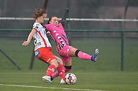 Amber De Priester (6) of Zulte-Waregem and Jennifer Bouchenna (17) of Sporting Charleroi  pictured during a female soccer game between SV Zulte - Waregem and Sporting Charleroi on the eleventh matchday of the 2020 - 2021 season of Belgian Scooore Womens Super League , saturday 23 th of January 2021  in Zulte , Belgium . PHOTO SPORTPIX.BE | SPP | DIRK VUYLSTEKE