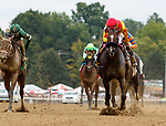 Sue's Fortune (no. 6) wins the Adirondack Stakes (Grade 2) Aug. 11, 2018 at the Saratoga Race Course, Saratoga Springs, NY.  Ridden by  Junior Alvarado, and trained by Jeremiah Englehart,  Sue's Fortune finished 1/2 length in front of Virginia Eloise (no. 5).  (Bruce Dudek/Eclipse Sportswire)
