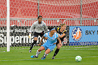 Los Angeles Sol goalkeeper Karina LeBlanc (23) watches Natasha Kai (6) of Sky Blue FC and Martina Franko (19) of the Los Angeles Sol. Sky Blue FC and the Los Angeles Sol played to a 0-0 tie during a Women's Professional Soccer match at Yurcak Field in Piscataway, NJ, on June 13, 2009.
