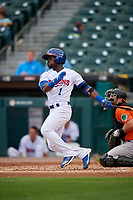 Buffalo Bisons Jonathan Davis (1) at bat during an International League game against the Norfolk Tides on June 21, 2019 at Sahlen Field in Buffalo, New York.  Buffalo defeated Norfolk 2-1, the first game of a doubleheader.  (Mike Janes/Four Seam Images)