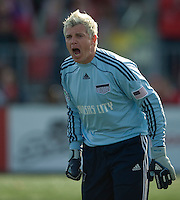 26 April 2009: Kansas City Wizards goalkeeper Kevin Hartman #1 shouts out instructions to his team at BMO Field in Toronto in a  game between Kansas City Wizards and Toronto FC..Toronto FC won 1-0.