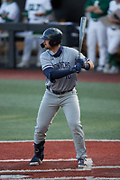 Brock Gagliardi (10) of the Old Dominion Monarchs at bat against the Charlotte 49ers at Hayes Stadium on April 23, 2021 in Charlotte, North Carolina. (Brian Westerholt/Four Seam Images)