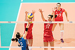 Wing spiker Sarina Koga of Japan (L) spikes the ball during the FIVB Volleyball World Grand Prix match between Japan vs Russia on 23 July 2017 in Hong Kong, China. Photo by Marcio Rodrigo Machado / Power Sport Images