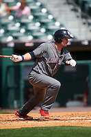 Lehigh Valley IronPigs catcher Andrew Knapp (15) at bat during a game against the Buffalo Bisons on August 28, 2016 at Coca-Cola Field in Buffalo, New York.  Lehigh Valley defeated Buffalo 5-2.  (Mike Janes/Four Seam Images)