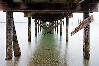 Under pier at Kayak Point County Park, Snohomish County, Washington, USA