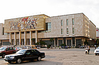 The museum of national history with a big mosaic on the facade depicting a national heroic scene The Tirana Main Central Square, Skanderbeg Skanderburg Square. National Historic Museum. Tirana capital. Albania, Balkan, Europe.