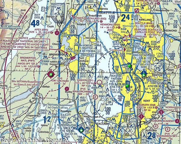 NOAA FAA VFR sectional aeronautical chart of the great Seattle, Washington metropolitan area