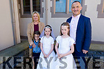 Twins Jane and Zoe Barry receiving their First Holy Communion in St Marys Church in Ballyheigue on Saturday. L to r: Nora, Sarah and Eamon Barry