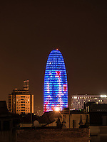 Torre Agbar building in the technolgy distict of Barcelona, Spain