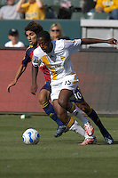 Quavas Kirk dribbles ahead of Mehdi Ballouchy. The Los Angeles Galaxy defeated Real Salt Lake, 3-2, at the Home Depot Center in Carson, CA on Sunday, June 17, 2007.