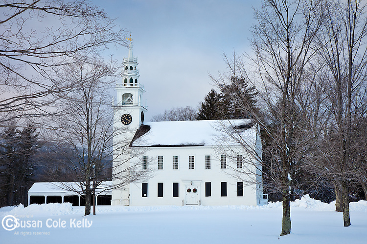 A snowy First Church in Jaffrey Center, NH, USA