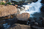 Cascading falls between lakes along the East Rosebud trail in Montana's Beartooth Wilderness