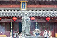 Nanjing, Jiangsu, China.  Confucius Statue in Courtyard of the Confucian Temple.