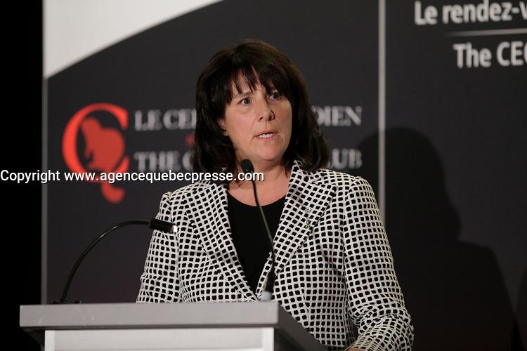 Sophie Brochu<br /> , Presidente et Chef de la Direction, Gaz Metro a la tribune du Cercle canadien de Montreal,le 13 fevrier 2017.<br /> <br /> Photo : <br /> agence quebec presse