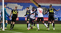 Bolton Wanderers' Arthur Gnahoua (centre) celebrates scoring his side's second goal <br /> <br /> Photographer Andrew Kearns/CameraSport<br /> <br /> EFL Papa John's Trophy - Northern Section - Group C - Bolton Wanderers v Newcastle United U21 - Tuesday 17th November 2020 - University of Bolton Stadium - Bolton<br />  <br /> World Copyright © 2020 CameraSport. All rights reserved. 43 Linden Ave. Countesthorpe. Leicester. England. LE8 5PG - Tel: +44 (0) 116 277 4147 - admin@camerasport.com - www.camerasport.com