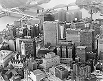 Pittsburgh PA:  Ariel view of the Pittsburgh skyline.  View includes he new Fort Pitt Bridge and Gateway 4 in Gateway Center under construction.