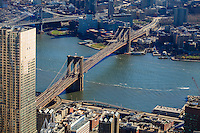 america,New York,  Manhattan, Liberty tower, WTC, landscape of brooklyn bridge from the rooftop