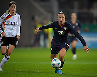 Abby Wambach controls the ball. US Women's National Team defeated Germany 1-0 at Impuls Arena in Augsburg, Germany on October 29, 2009.
