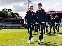 Bolton Wanderers' Adam Senior (left) and Harry Brockbank pictured before the match <br /> <br /> Photographer Andrew Kearns/CameraSport<br /> <br /> The Carabao Cup First Round - Rochdale v Bolton Wanderers - Tuesday 13th August 2019 - Spotland Stadium - Rochdale<br />  <br /> World Copyright © 2019 CameraSport. All rights reserved. 43 Linden Ave. Countesthorpe. Leicester. England. LE8 5PG - Tel: +44 (0) 116 277 4147 - admin@camerasport.com - www.camerasport.com