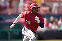 Harrisburg Senators Armond Upshaw (20) runs to first base during a game against the Erie Seawolves on September 5, 2021 at UPMC Park in Erie, Pennsylvania.  (Mike Janes/Four Seam Images)