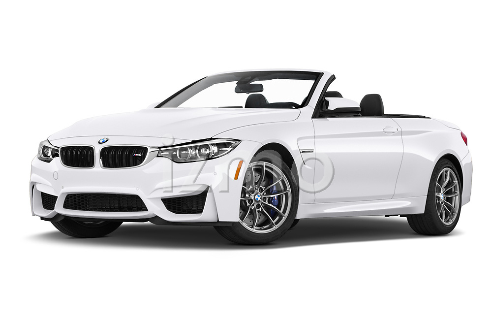 Stock pictures of low aggressive front three quarter view of a 2020 BMW M4 Base 2 Door Convertible