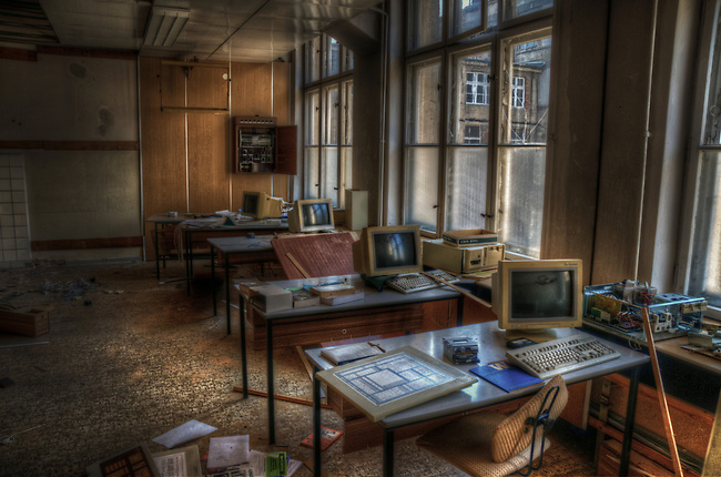 Some old computer repair room in a small ton on East Germany