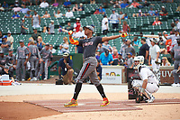 Hunter Greene (42) of Notre Dame High School in Stevenson Ranch, California during the home run derby before the Under Armour All-American Game presented by Baseball Factory on July 23, 2016 at Wrigley Field in Chicago, Illinois.  (Mike Janes/Four Seam Images)