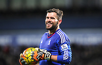 Goalkeeper Ben Foster of West Bromwich Albion laughs at the linesman after he felt he made a poor decision during the Barclays Premier League match between West Bromwich Albion and Swansea City at The Hawthorns on the 2nd of February 2016