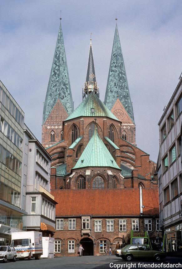 Lubeck: St. Mary's  (Marienkirche), 1250-1330. The arcade blocking the ambulatory is 1483-1486. Photo '87.