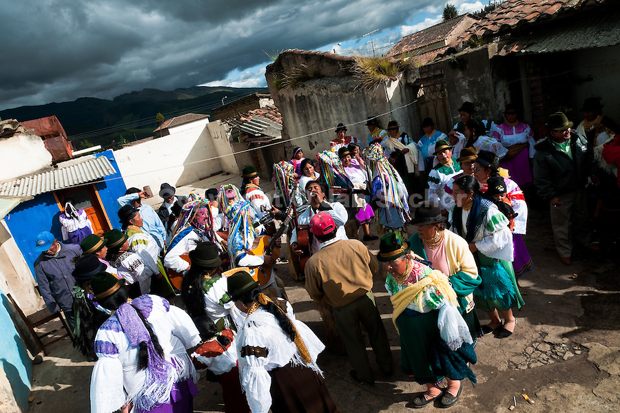 """Indians, wearing colorful costumes, dance in the circle during the Inti Raymi festival in Pichincha province, Ecuador, 27 June 2010. Inti Raymi, """"Festival of the Sun"""" in Quechua language, is an ancient spiritual ceremony held in the Indian regions of the Andes, mainly in Ecuador and Peru. The lively celebration, set by the winter solstice, goes on for various days. The highland Indians, wearing beautiful costumes, dance, drink and sing with no rest. Colorful processions in honor of the God Inti (Sun) pass through the mountain villages giving thanks for the harvest and expressing their deep relation to the Mother Earth (Pachamama)."""