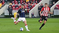 Lewis Wing of Middlesbrough gets ready to take a shot at the Brentford goal as Vitaly Janelt looks on during Brentford vs Middlesbrough, Sky Bet EFL Championship Football at the Brentford Community Stadium on 7th November 2020