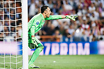 Goalkeeper Keylor Navas of Real Madrid reacts during their 2016-17 UEFA Champions League Quarter-finals second leg match between Real Madrid and FC Bayern Munich at the Estadio Santiago Bernabeu on 18 April 2017 in Madrid, Spain. Photo by Diego Gonzalez Souto / Power Sport Images