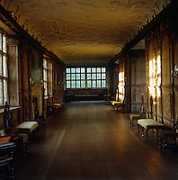 The Long Gallery is 110 feet long and is lit by a wall of leaded windows