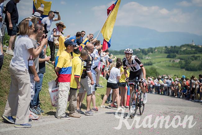 Georg Preidler (AUT/Sunweb) up the crazy steep Muro di Ca' del Poggio (max 18%)<br /> <br /> Stage 20: Pordenone › Asiago (190km)<br /> 100th Giro d'Italia 2017