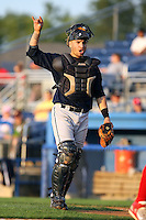 August 22 2008:  Catcher Michael Valadez of the Mahoning Valley Scrappers, Class-A affiliate of the Cleveland Indians, during a game at Dwyer Stadium in Batavia, NY.  Photo by:  Mike Janes/Four Seam Images