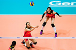 Opposite spiker Xiangyu Gong of China (L) pass during the FIVB Volleyball World Grand Prix match between China vs Japan on July 21, 2017 in Hong Kong, China. Photo by Marcio Rodrigo Machado / Power Sport Images