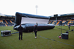 Notts County 150th Anniversary, 18/11/2012. Meadow Lane. Events staff constructing an inflatable screen at Meadow Lane, home of Notts County FC during a special Legends Day event marking the club's 150th anniversary. The day-long event featured autograph signing by past and present players, a game between two teams of former players and a screening of a film entitled 'Notts County - the Movie' on a giant inflatable screen. The club were founder members of the Football League in England and call themselves 'the world's oldest Football League club'. Photo by Colin McPherson.