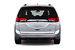 Straight rear view of a 2018 Chrysler Pacifica Hybrid Limited 5 Door Mini Van stock images