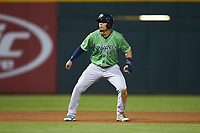 Rafael Ortega (5) of the Gwinnett Braves takes his lead off of second base against the Charlotte Knights at BB&T BallPark on July 12, 2019 in Charlotte, North Carolina. The Stripers defeated the Knights 9-3. (Brian Westerholt/Four Seam Images)