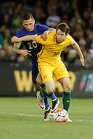 June 7, 2016: ROBBIE KRUSE (10) of Australia protects the ball during an international friendly match between the Australian Socceroos and Greece at Etihad Stadium, Melbourne. Photo Sydney Low