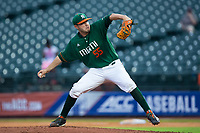 Miami Hurricanes starting pitcher Jesse Lepore (55) delivers a pitch to the plate against the North Carolina Tar Heels in the second semifinal of the 2017 ACC Baseball Championship at Louisville Slugger Field on May 27, 2017 in Louisville, Kentucky.  The Tar Heels defeated the Hurricanes 12-4.  (Brian Westerholt/Four Seam Images)