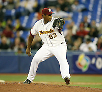 March 8, 2009:  Pitcher Ivan Blanco (63) of Venezuela during the first round of the World Baseball Classic at the Rogers Centre in Toronto, Ontario, Canada.  Venezuela lost to Team USA 15-6 in both teams second game of the tournament.  Photo by:  Mike Janes/Four Seam Images