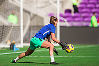 ORLANDO, FL - FEBRUARY 24: CANWNT warming up before a game between Brazil and Canada at Exploria Stadium on February 24, 2021 in Orlando, Florida.