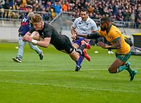 11th October 2020; Sky Stadium, Wellington, New Zealand;  New Zealand's Jordie Barrett scores. Bledisloe Cup rugby union test match between the New Zealand All Blacks and Australia Wallabies.